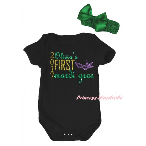 Mardi Gras Black Baby Jumpsuit & Sparkle 2017 Olivia's First Mardi Gras Clown Mask Painting & Kelly Green Headband Bow TH878