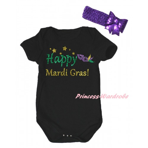 Mardi Gras Black Baby Jumpsuit & Sparkle Happy Mardi Gras! Clown Mask Painting & Dark Purple Headband Bow TH879