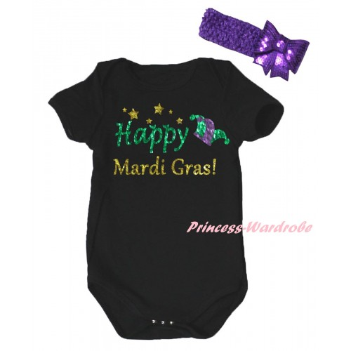 Mardi Gras Black Baby Jumpsuit & Sparkle Happy Mardi Gras! Clown Hat Painting & Dark Purple Headband Bow TH880