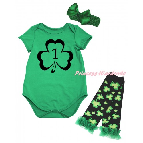 St Patrick's Day Kelly Green Baby Jumpsuit & Black 1st Number Clover Painting & Kelly Green Headband Bow & Kelly Green Ruffles Kelly Green Black Clover Leg Warmer Set TH884