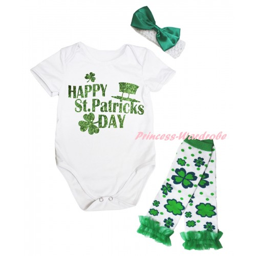 St Patrick's Day White Baby Jumpsuit & Sparkle Green Happy St Patrick's Day Painting & White Headband Kelly Green Bow & Kelly Green Ruffles Kelly Green White Clover Leg Warmer Set TH887
