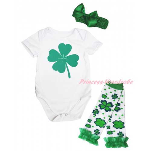 St Patrick's Day White Baby Jumpsuit & Kelly Green Clover Painting & Kelly Green Headband Bow & Kelly Green Ruffles Kelly Green White Clover Leg Warmer Set TH888