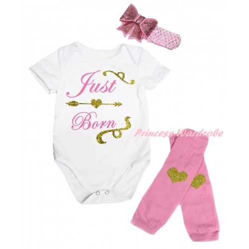 White Baby Jumpsuit & Sparkle Gold Light Pink Just Born Painting & Light Pink Headband Bow & Light Pink Gold Heart Print Leg Warmer Set TH889