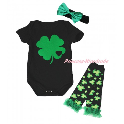 St Patrick's Day Black Baby Jumpsuit & Kelly Green Clover Black Heart Painting & Black Headband Kelly Green Bow & Kelly Green Ruffles Kelly Green Black Clover Leg Warmer Set TH892