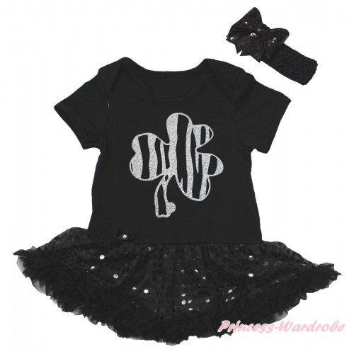 St Patrick's Day Black Baby Bodysuit Bling Sequins Pettiskirt & Sparkle Silver Clover Painting JS5263