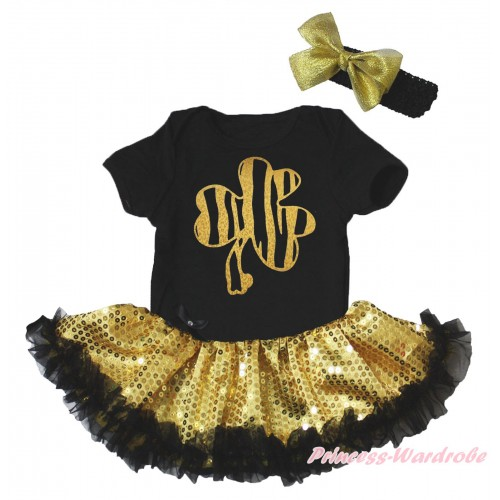 St Patrick's Day Black Baby Bodysuit Bling Gold Sequins Black Pettiskirt & Sparkle Gold Clover Painting JS5266