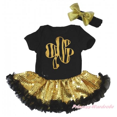 St Patrick's Day Black Baby Bodysuit Bling Gold Sequins Black Pettiskirt & Sparkle Gold Clover Painting JS5266