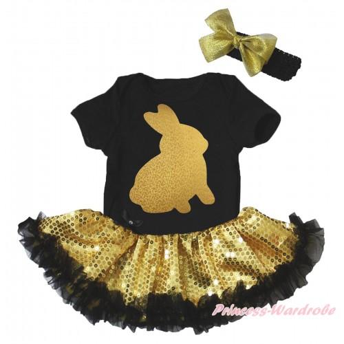 Easter Black Baby Bodysuit Bling Gold Sequins Black Pettiskirt & Sparkle Gold Rabbit Painting JS5267