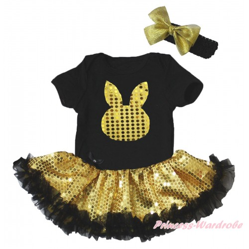 Easter Black Baby Bodysuit Bling Gold Sequins Black Pettiskirt & Gold Sequins Rabbit Print JS5269