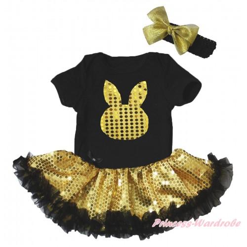 Easter Black Baby Bodysuit Bling Gold Sequins Black Pettiskirt & Gold Sequins Rabbit Print JS5269