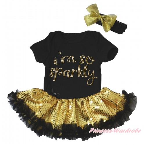 Black Baby Bodysuit Bling Gold Sequins Black Pettiskirt & Sparkle Rhinestone Gold I'm Sparkly Print JS5271