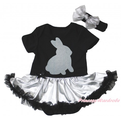 Easter Black Baby Bodysuit Silver Black Pettiskirt & Sparkle Grey Rabbit Painting JS5276