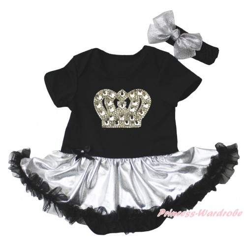 Black Baby Bodysuit Silver Black Pettiskirt & Silver Sparkle Crystal Bling Rhinestone Crown Print JS5277