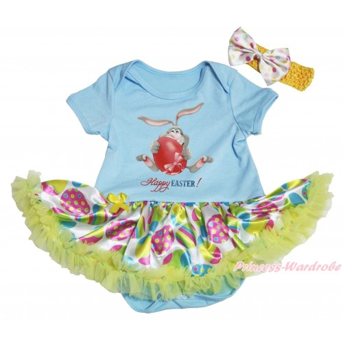 Easter Light Blue Baby Bodysuit Easter Egg Yellow Pettiskirt & Grey Rabbit Painting JS5303