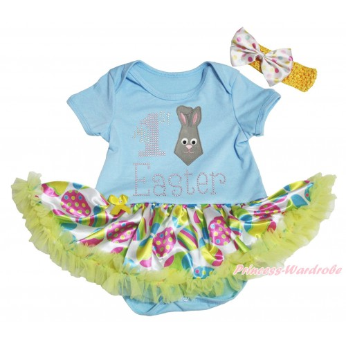 Easter Light Blue Baby Bodysuit Easter Egg Yellow Pettiskirt & Rhinestone My 1st Easter Rabbit Tie Print JS5305