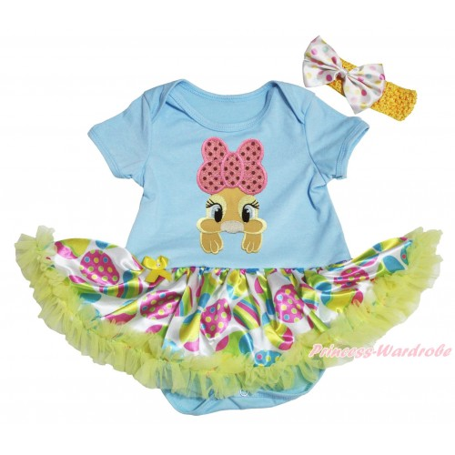 Easter Light Blue Baby Bodysuit Easter Egg Yellow Pettiskirt & Pink Bow Bunny Rabbit Print JS5308