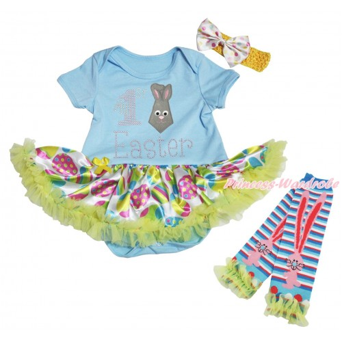 Easter Light Blue Baby Bodysuit Easter Egg Yellow Pettiskirt & Rhinestone My 1st Easter Rabbit Tie Print & Warmers Leggings JS5314