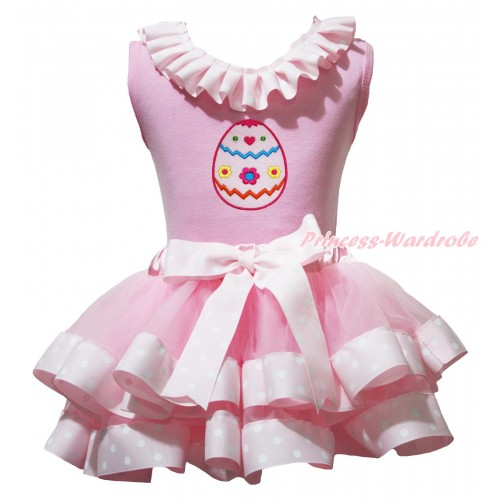 Easter Light Pink Tank Top Pink White Dots Lacing & Easter Egg Print & Light Pink White Dots Trimmed Pettiskirt MG1999