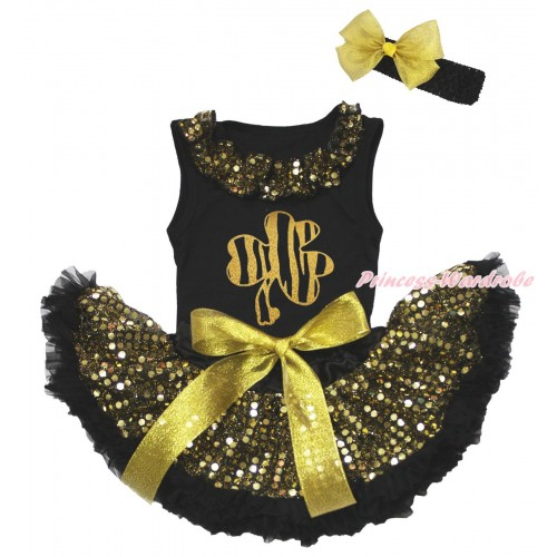 St Patrick's Day Black Baby Pettitop Gold Sequins Lacing & Sparkle Gold Clover Painting & Gold Bling Sequins Newborn Pettiskirt NG1930