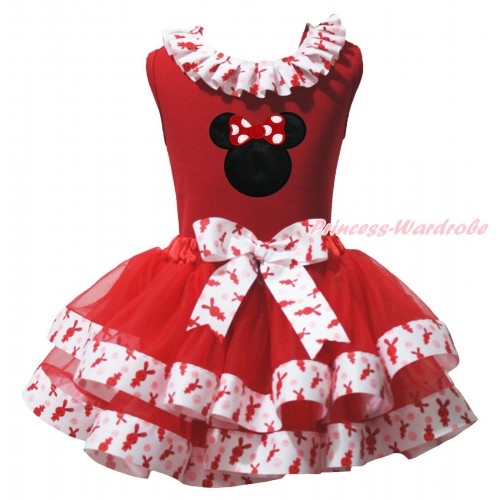 Red Baby Pettitop Red Rabbit Lacing & Red Mnnie Print & Red White Rabbit Trimmed Baby Pettiskirt NG1952