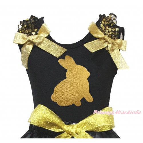 Easter Black Tank Top Gold Sequins Ruffles Sparkle Gold Bow & Sparkle Gold Rabbit Print TB1419