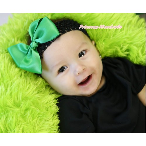 Black Headband Kelly Green Silk Bow Hair Clip H1053