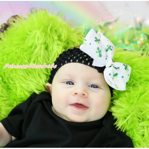 St Patrick's Day Black Headband Green Clover Ribbon Bow Hair Clip H1055