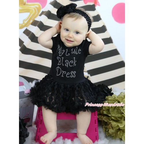 Black Baby Bodysuit Rosettes Pettiskirt & Sparkle Rhiinestone My Little Black Dress Print JS5023