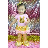 Easter Light Pink Baby Bodysuit Bling Gold Sequins Pink Pettiskirt & Gold Sequins Rabbit Print & Pants JS5024