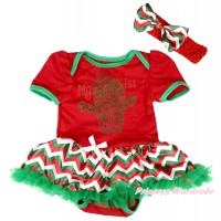 Red Baby Bodysuit Red White Green Chevron Pettiskirt & Sparkle Rhinestone My 1st Cinco De Mayo Cactus Print JS5032
