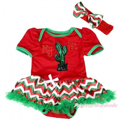 Cinco De Mayo Red Baby Bodysuit Red White Green Chevron Pettiskirt & Sparkle Rhinestone My 1st Sequins Cactus Print JS5033
