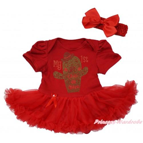 Red Baby Bodysuit Pettiskirt & Sparkle Rhinestone My 1st Cinco De Mayo Cactus Print JS5034