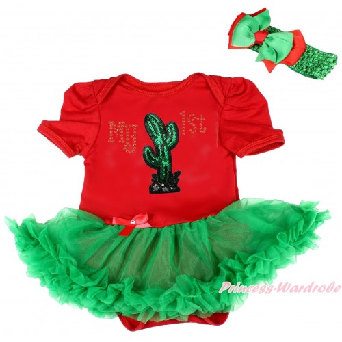 Cinco De Mayo Red Baby Bodysuit Kelly Green Pettiskirt & Sparkle Rhinestone My 1st Sequins Cactus Print JS5036