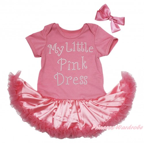 Dusty Pink Baby Bodysuit Satin Pettiskirt & Sparkle Rhinestone My Little Pink Dress Print JS5049