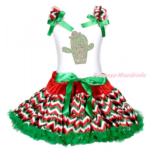 White Tank Top Red White Green Chevron Ruffles Kelly Green Bows & Rhinestone Cinco De Mayo Cactus Print & Red White Green Chevron Pettiskirt MG2002