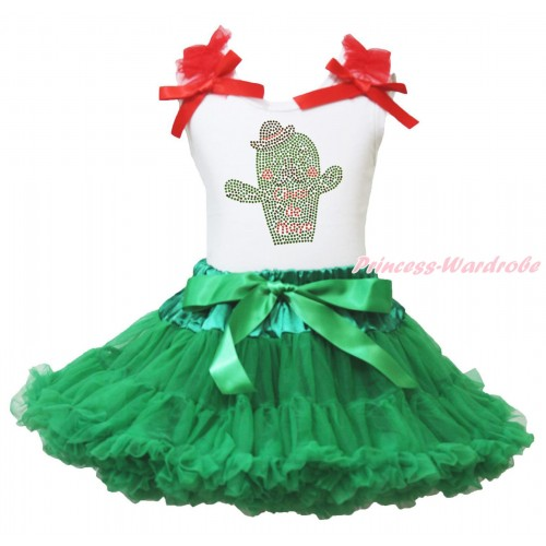 White Tank Top Red Ruffles & Bow & Rhinestone Cinco De Mayo Cactus Print & Kelly Green Pettiskirt MG2004