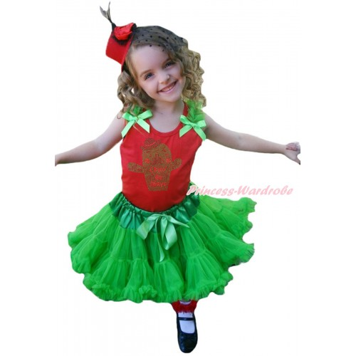 Red Tank Top Dark Green Ruffles & Bow & Rhinestone Cinco De Mayo Cactus Print & Dark Green Pettiskirt MG2006