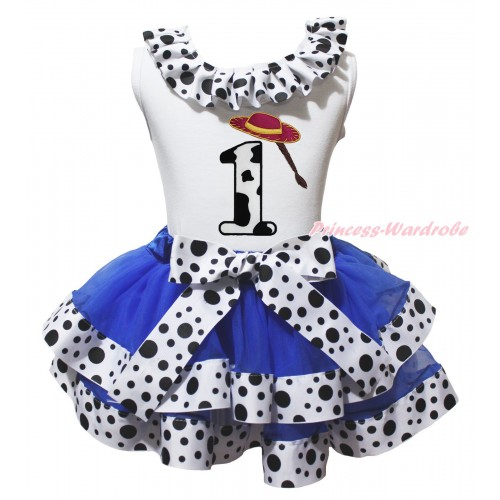 White Tank Top White Black Dots Lacing & 1st Cowgirl Hat Braid Milk Cow Birthday Number Print & Royal Blue White Black Dots Trimmed Pettiskirt MG2065