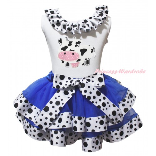 White Tank Top White Black Dots Lacing & Milk Cow Print & Royal Blue White Black Dots Trimmed Pettiskirt MG2066