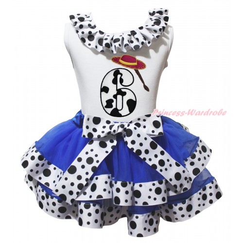 White Tank Top White Black Dots Lacing & 6th Cowgirl Hat Braid Milk Cow Birthday Number Print & Royal Blue White Black Dots Trimmed Pettiskirt MG2072