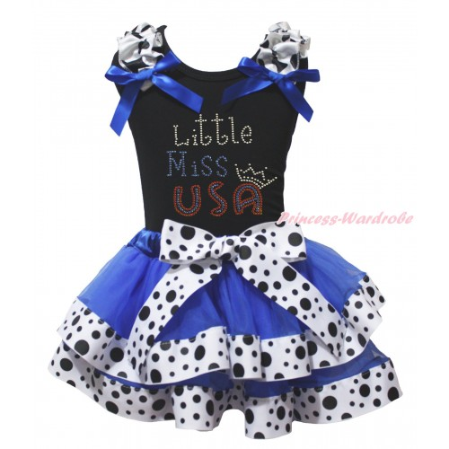 American's Birthday Black Tank Top Milk Cow Ruffles Royal Blue Bow & Rhinestone Little Miss USA  Print & Royal Blue White Black Dots Trimmed Pettiskirt MG2074