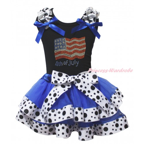 American's Birthday Black Tank Top Milk Cow Ruffles Royal Blue Bow & Rhinestone American Flag 4th Of July Print & Royal Blue White Black Dots Trimmed Pettiskirt MG2076