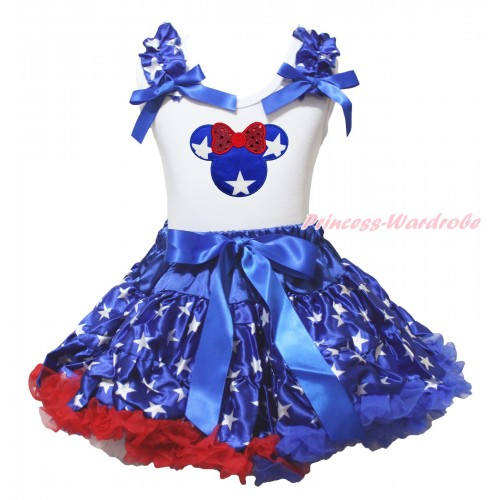 American's Birthday White Tank Top Patriotic American Star Ruffles Royal Blue Bows & Red Bow Patriotic American Star Minnie Print & Patriotic American Pettiskirt MG2206