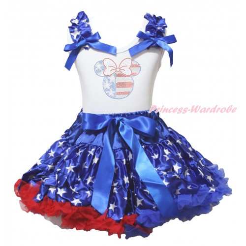 American's Birthday White Tank Top Patriotic American Star Ruffles Royal Blue Bows & Sparkle Crystal Bling Rhinestone 4th July Minnie Print & Patriotic American Pettiskirt MG2208