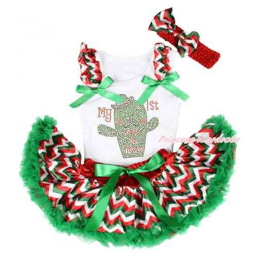 White Baby Pettitop Red White Green Chevron Ruffles Kelly Green Bows & Rhinestone My 1st Cinco De Mayo Cactus Print & Red White Green Chevron Newborn Pettiskirt NG1962