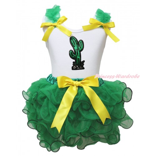 Cinco De Mayo White Baby Pettitop Kelly Green Ruffles Yellow Bows & Sparkle Sequins Cactus Print & Kelly Green Trimmed Newborn Pettiskirt NG1967