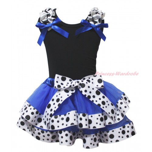 Black Baby Pettitop Milk Cow  Ruffles Royal Blue Bow & Royal Blue White Black Dots Trimmed Baby Pettiskirt NG1973