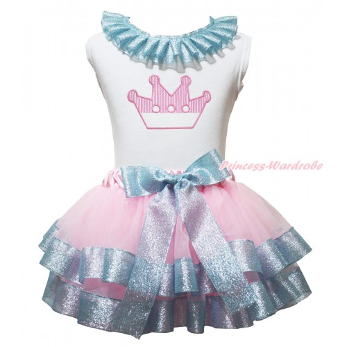 White Baby Pettitop Sparkle Blue Lacing & Light Pink Crown Print & Light Pink Sparkle Blue Trimmed Newborn Pettiskirt NG1978