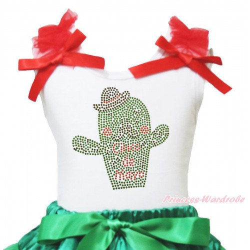 White Tank Top Red Ruffles & Bow & Sparkle Rhinestone Cinco De Mayo Cactus Print TB1436