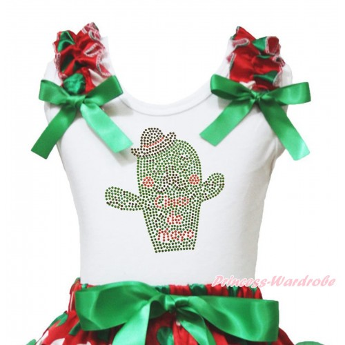 White Tank Top Red White Green Dots Ruffles Kelly Green Bow & Sparkle Rhinestone Cinco De Mayo Cactus Print TB1437